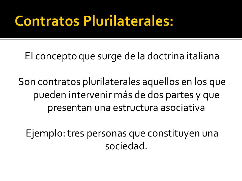 Contratos Plurilaterales: