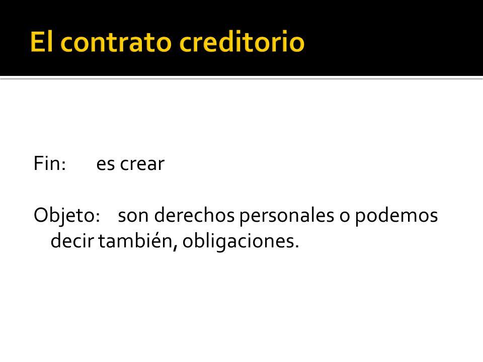 El contrato creditorio