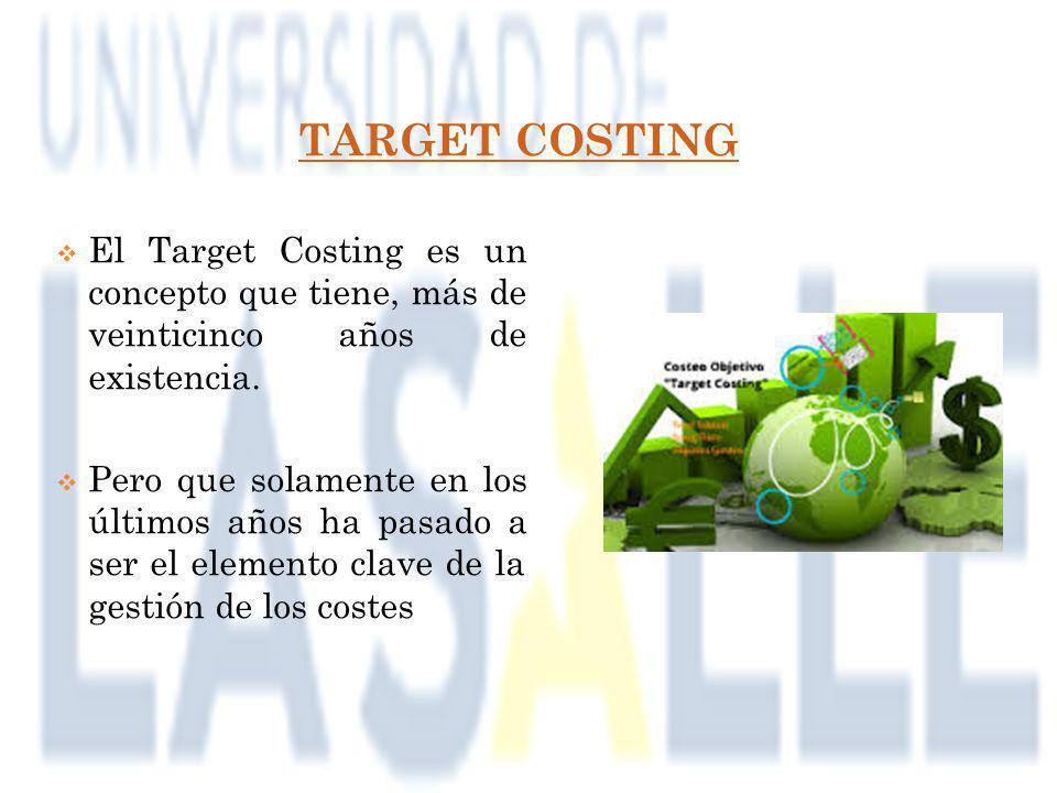 TARGET COSTING El Target Costing es un concepto que tiene, más de veinticinco años de existencia.