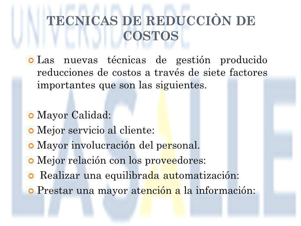 TECNICAS DE REDUCCIÒN DE COSTOS