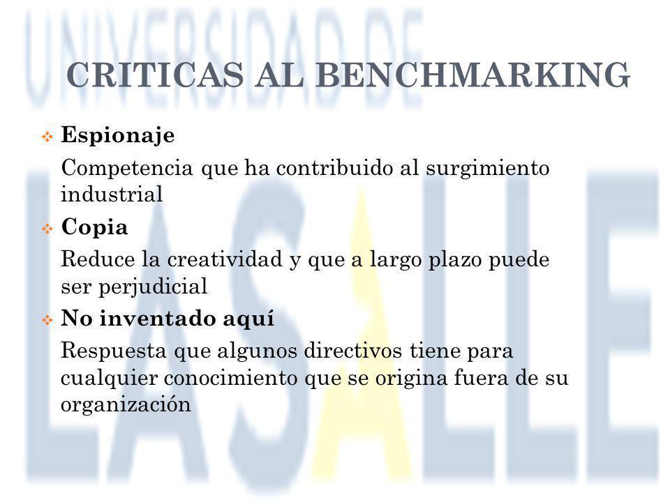 CRITICAS AL BENCHMARKING