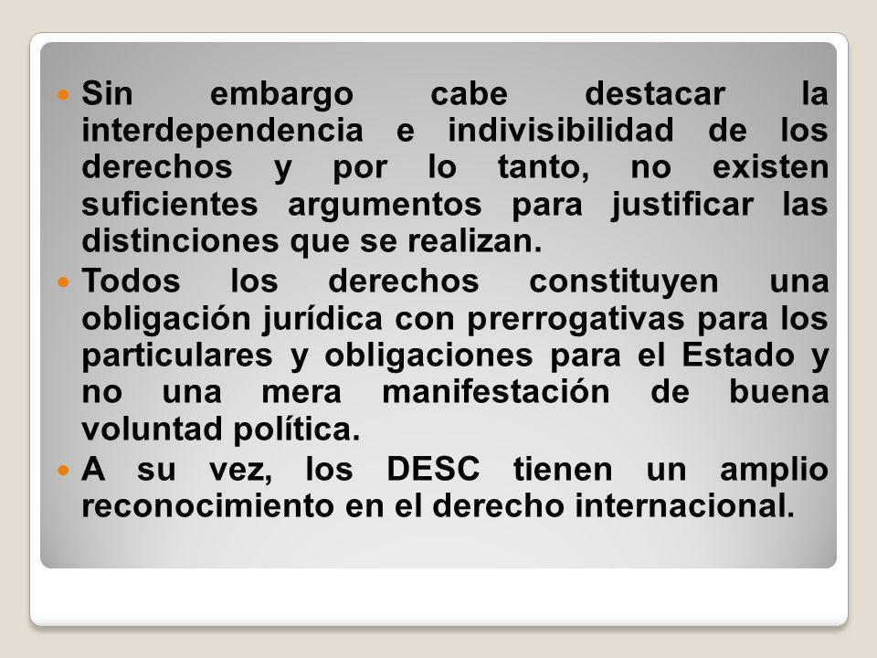 Sin embargo cabe destacar la interdependencia e indivisibilidad de los derechos y por lo tanto, no existen suficientes argumentos para justificar las distinciones que se realizan.