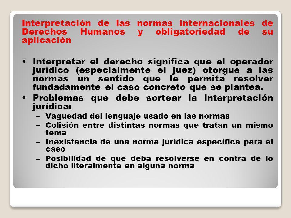 Problemas que debe sortear la interpretación jurídica: