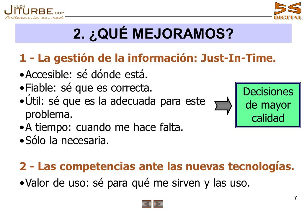 2. ¿QUÉ MEJORAMOS 1 - La gestión de la información: Just-In-Time.