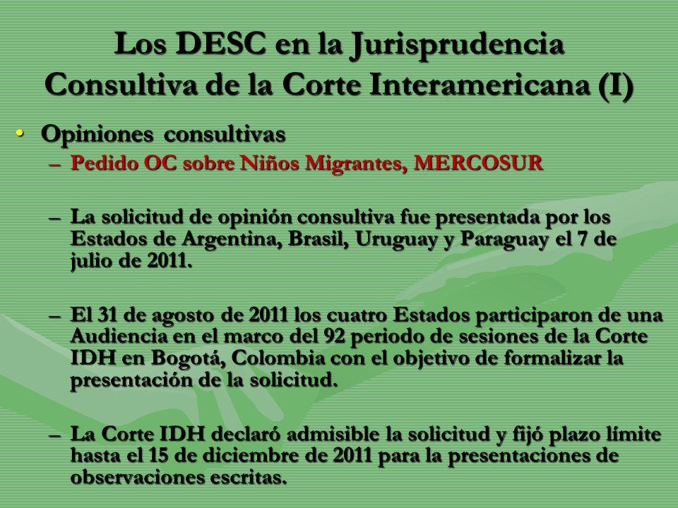 Los DESC en la Jurisprudencia Consultiva de la Corte Interamericana (I)