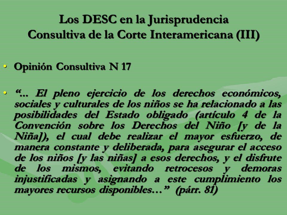 Los DESC en la Jurisprudencia Consultiva de la Corte Interamericana (III)