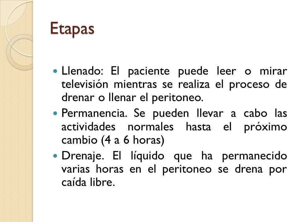 Etapas Llenado: El paciente puede leer o mirar televisión mientras se realiza el proceso de drenar o llenar el peritoneo.