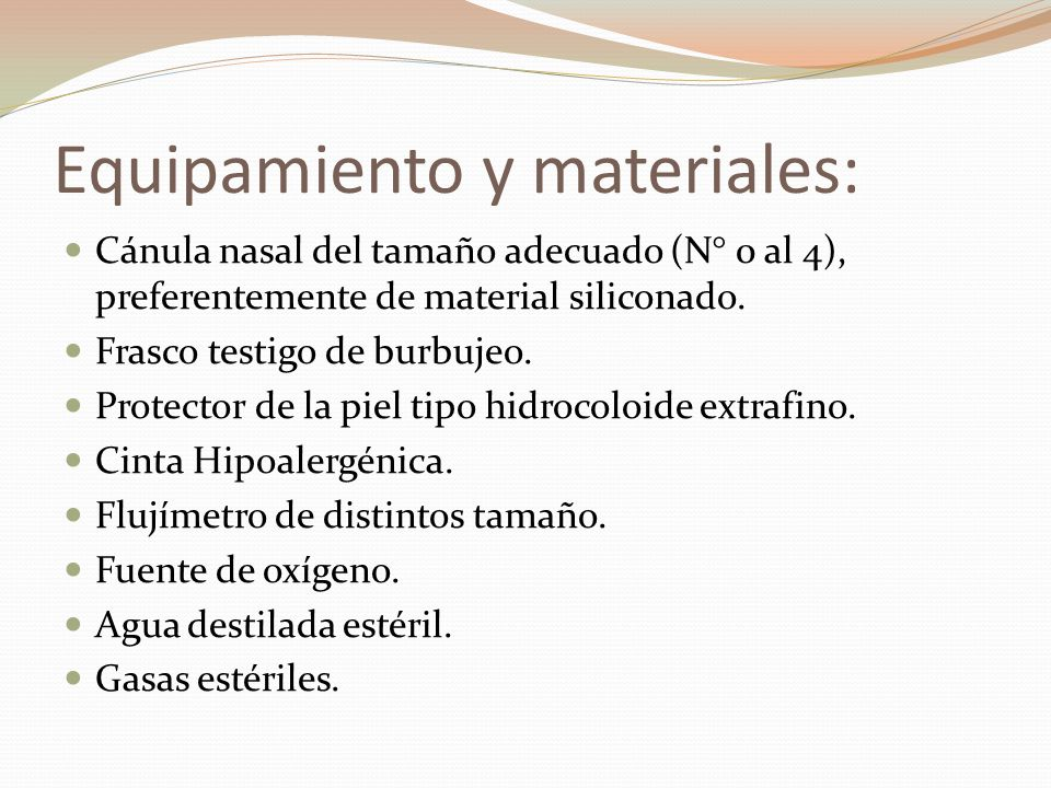 Equipamiento y materiales: