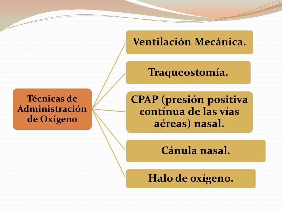 CPAP (presión positiva contínua de las vías aéreas) nasal.