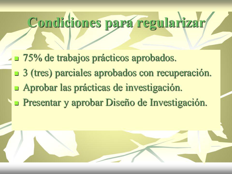 Condiciones para regularizar