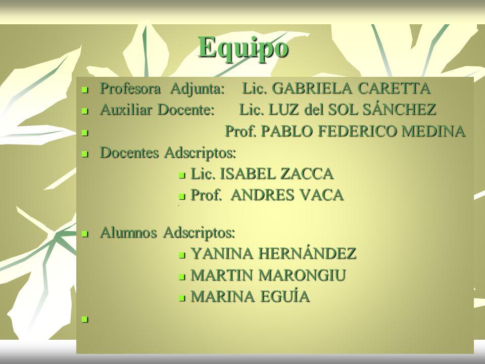 Equipo Profesora Adjunta: Lic. GABRIELA CARETTA