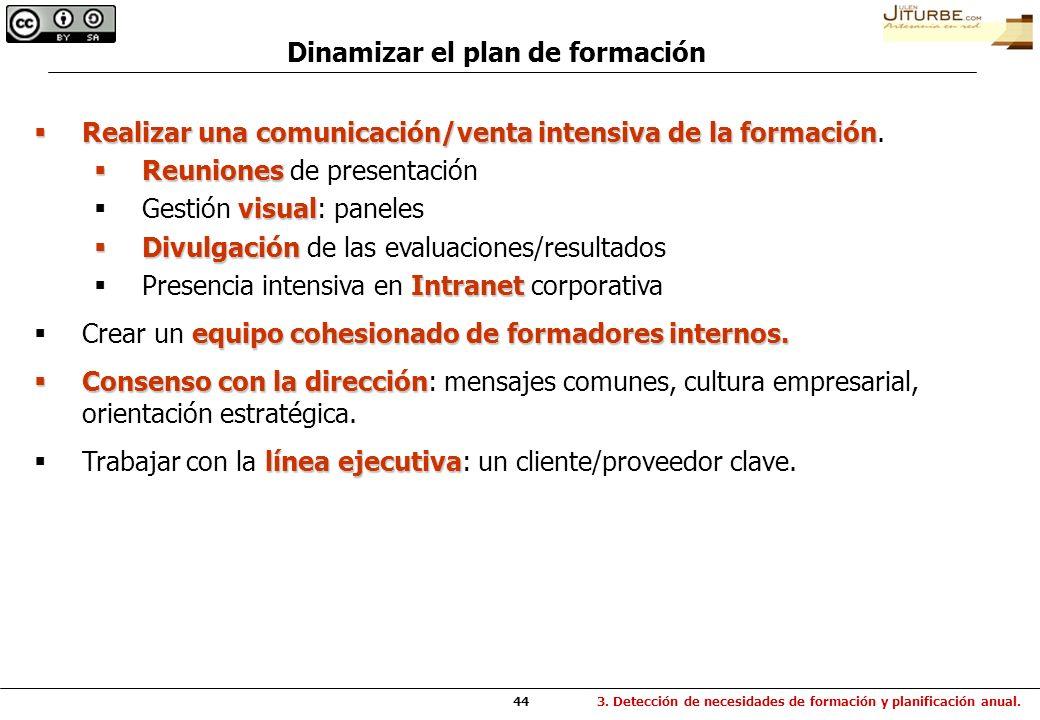 Dinamizar el plan de formación