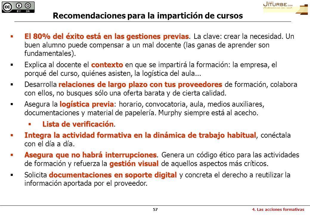Recomendaciones para la impartición de cursos
