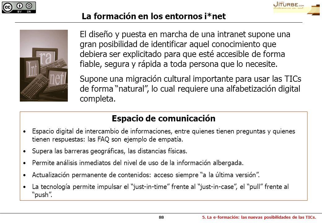 La formación en los entornos i*net Espacio de comunicación