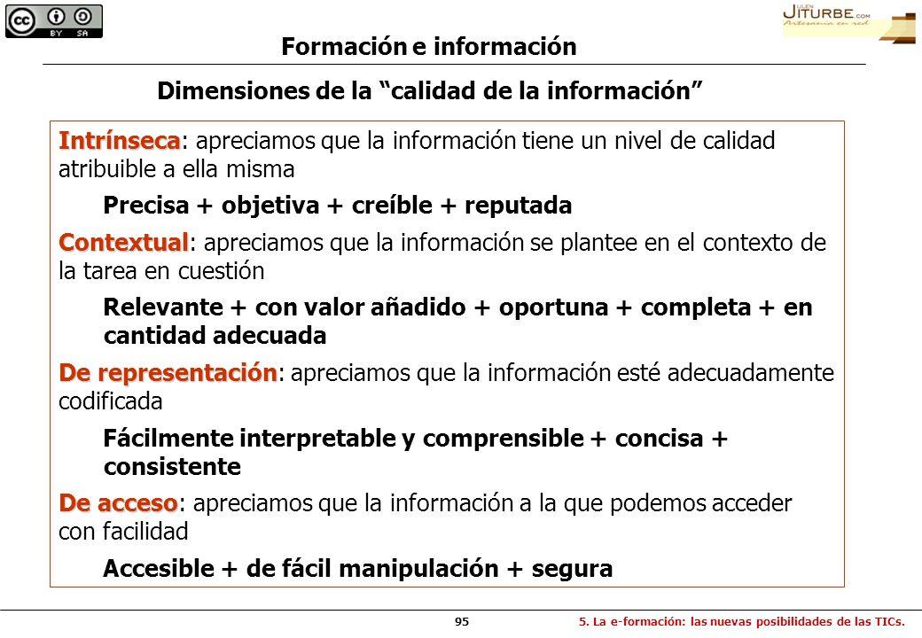 Formación e información Dimensiones de la calidad de la información
