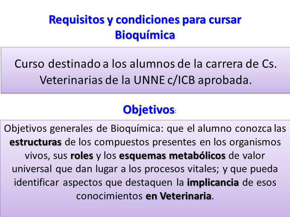 Requisitos y condiciones para cursar Bioquímica