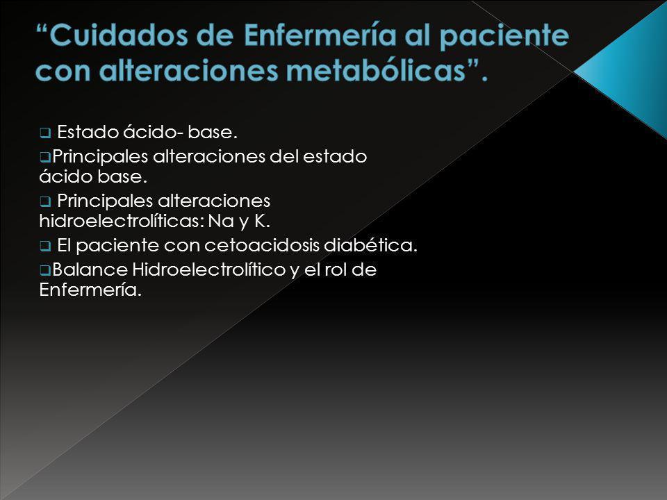 Cuidados de Enfermería al paciente con alteraciones metabólicas .