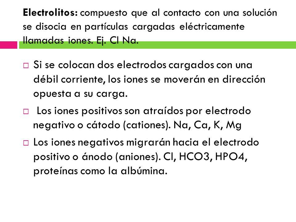Electrolitos: compuesto que al contacto con una solución se disocia en partículas cargadas eléctricamente llamadas iones. Ej. Cl Na.