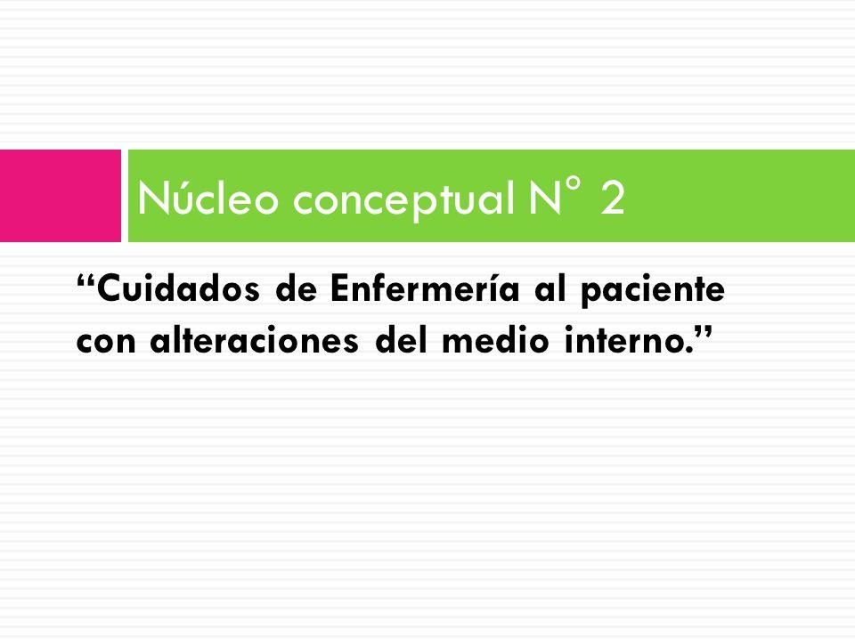 Núcleo conceptual N° 2 Cuidados de Enfermería al paciente con alteraciones del medio interno.