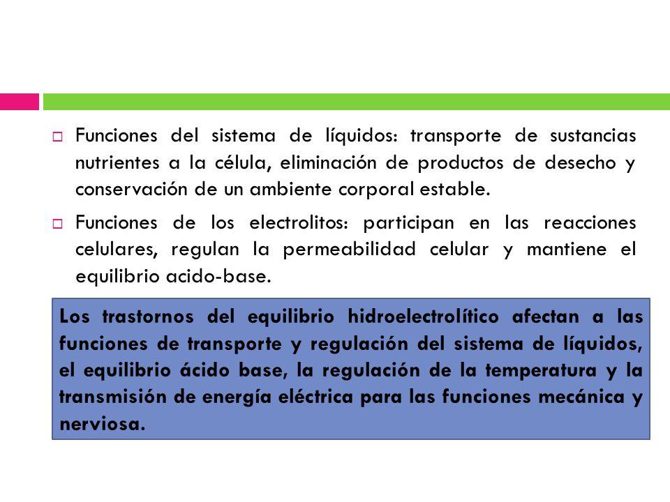 Funciones del sistema de líquidos: transporte de sustancias nutrientes a la célula, eliminación de productos de desecho y conservación de un ambiente corporal estable.