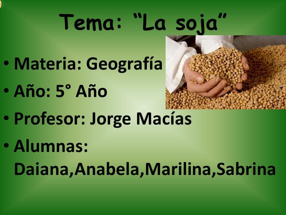 Tema: La soja Materia: Geografía Año: 5° Año Profesor: Jorge Macías