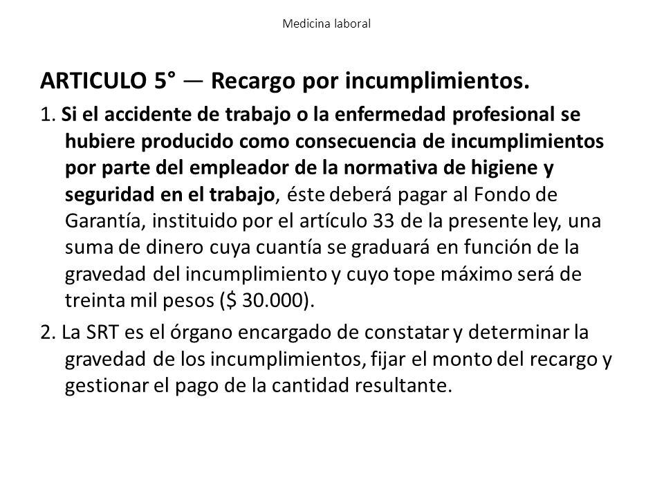 ARTICULO 5° — Recargo por incumplimientos.