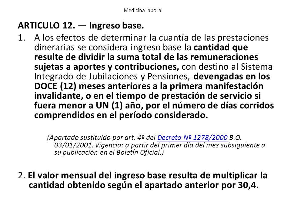 ARTICULO 12. — Ingreso base.
