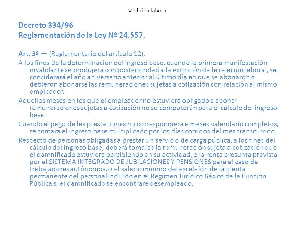 Reglamentación de la Ley Nº 24.557.