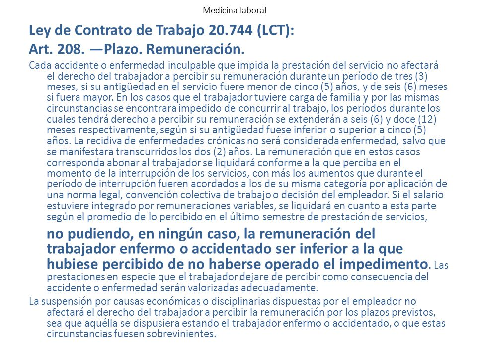 Ley de Contrato de Trabajo 20.744 (LCT):