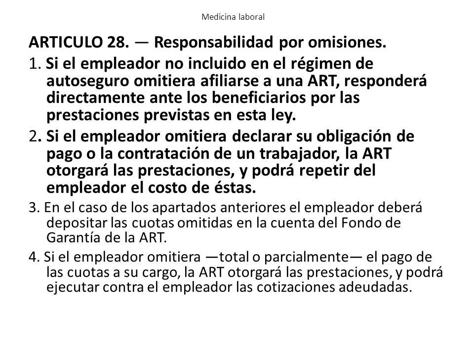 ARTICULO 28. — Responsabilidad por omisiones.