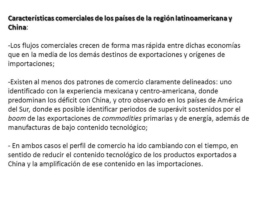 Características comerciales de los países de la región latinoamericana y China:
