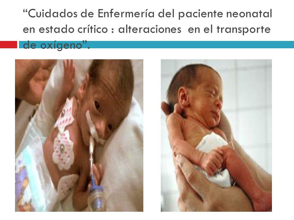 Cuidados de Enfermería del paciente neonatal en estado crítico : alteraciones en el transporte de oxígeno .