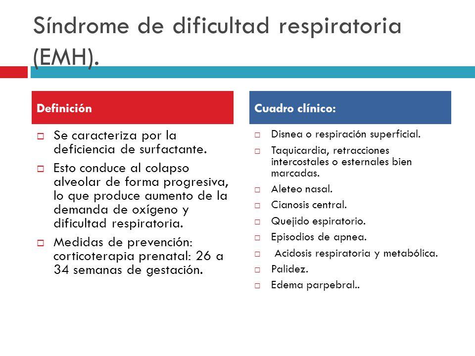 Síndrome de dificultad respiratoria (EMH).