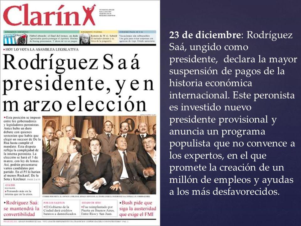 23 de diciembre: Rodríguez Saá, ungido como presidente, declara la mayor suspensión de pagos de la historia económica internacional.