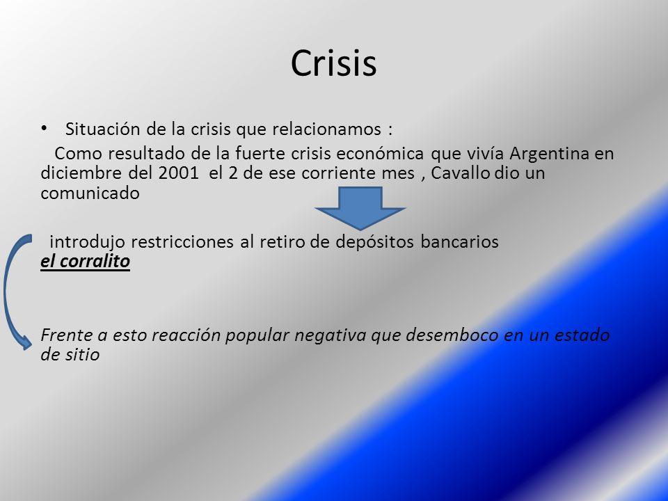 Crisis Situación de la crisis que relacionamos :
