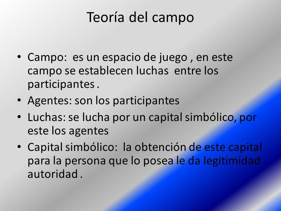 Teoría del campo Campo: es un espacio de juego , en este campo se establecen luchas entre los participantes .