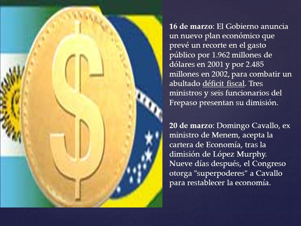16 de marzo: El Gobierno anuncia un nuevo plan económico que prevé un recorte en el gasto público por 1.962 millones de dólares en 2001 y por 2.485 millones en 2002, para combatir un abultado déficit fiscal. Tres ministros y seis funcionarios del Frepaso presentan su dimisión.
