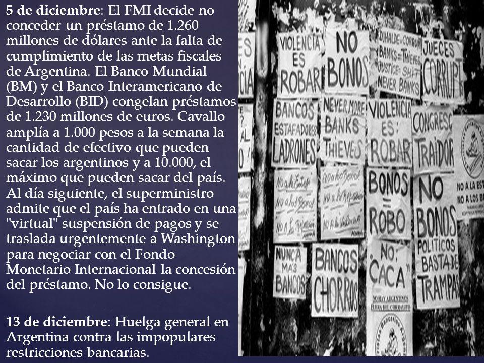 5 de diciembre: El FMI decide no conceder un préstamo de 1