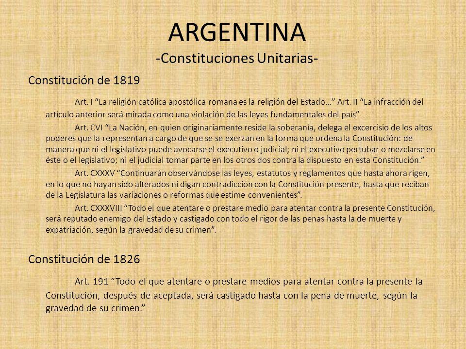 ARGENTINA -Constituciones Unitarias-