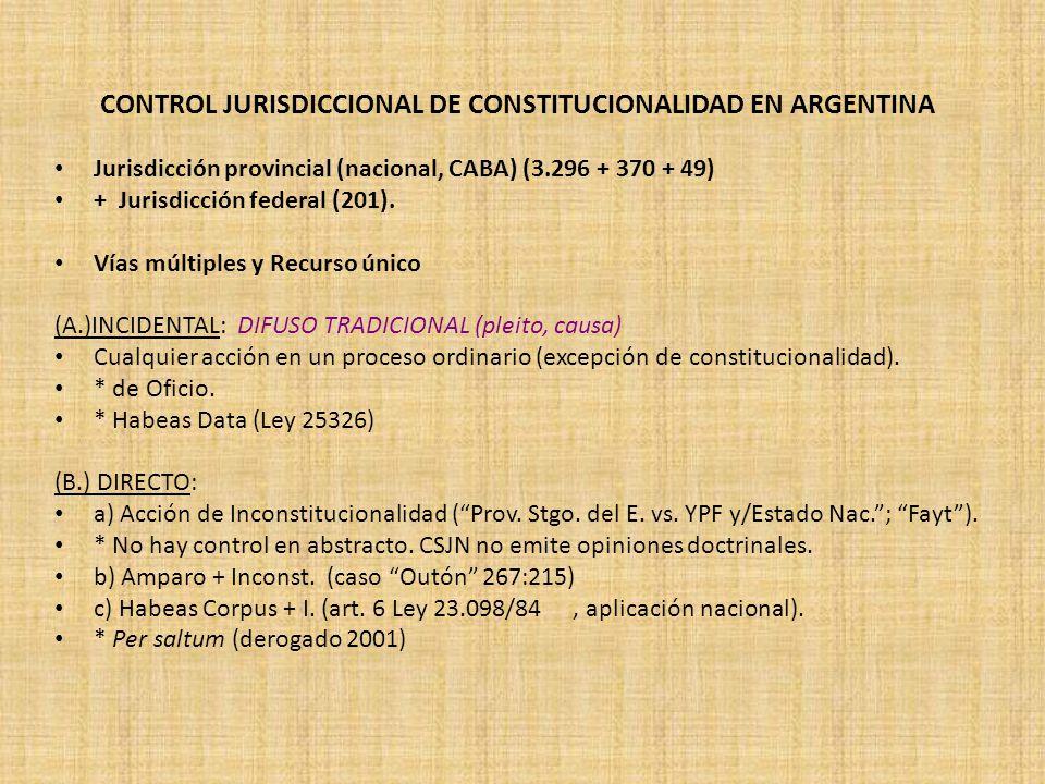CONTROL JURISDICCIONAL DE CONSTITUCIONALIDAD EN ARGENTINA