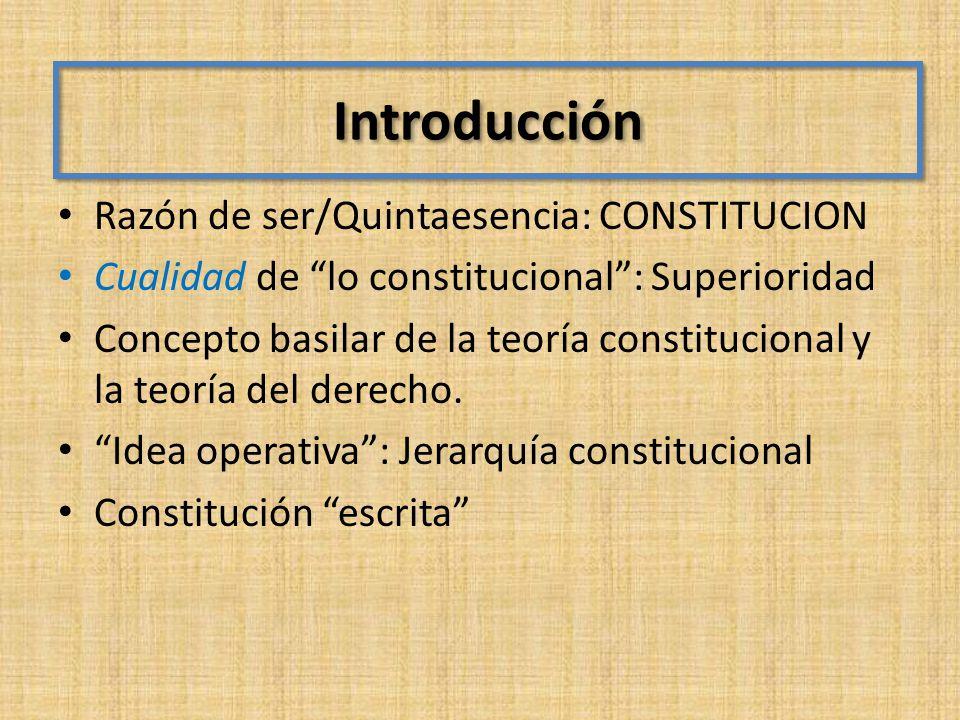 Introducción Razón de ser/Quintaesencia: CONSTITUCION