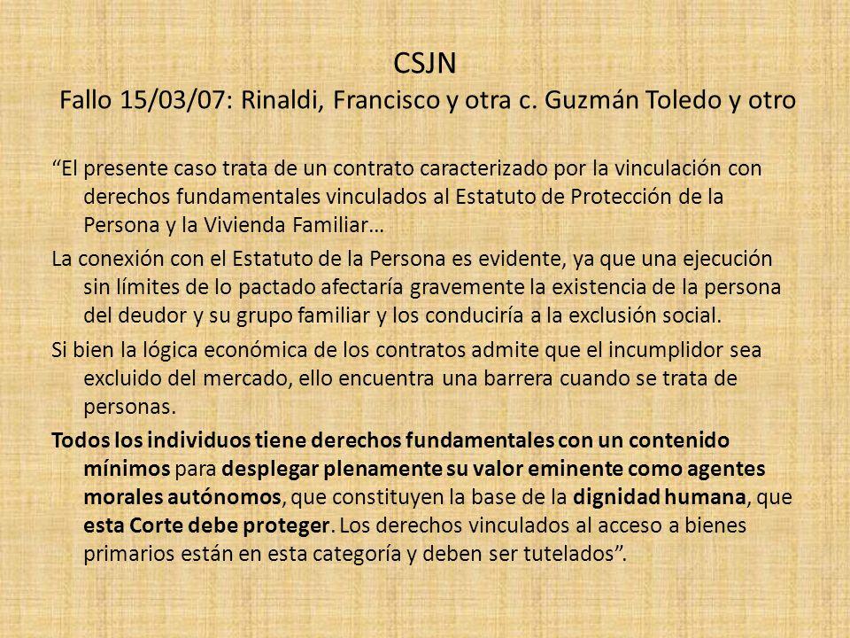 CSJN Fallo 15/03/07: Rinaldi, Francisco y otra c. Guzmán Toledo y otro