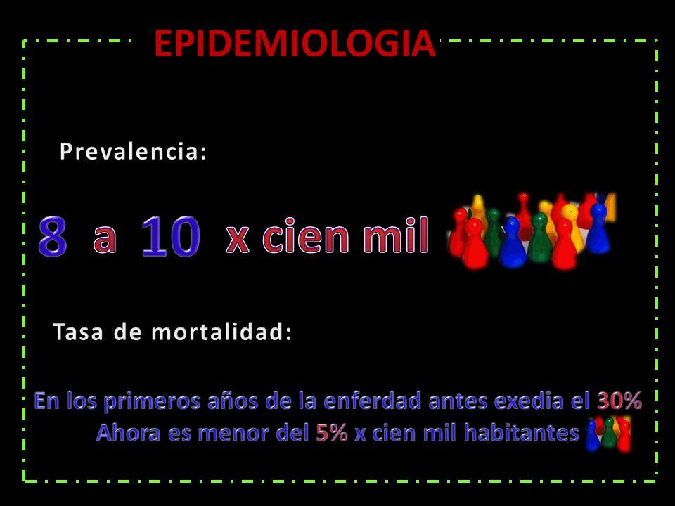 8 10 a x cien mil EPIDEMIOLOGIA Prevalencia: Tasa de mortalidad:
