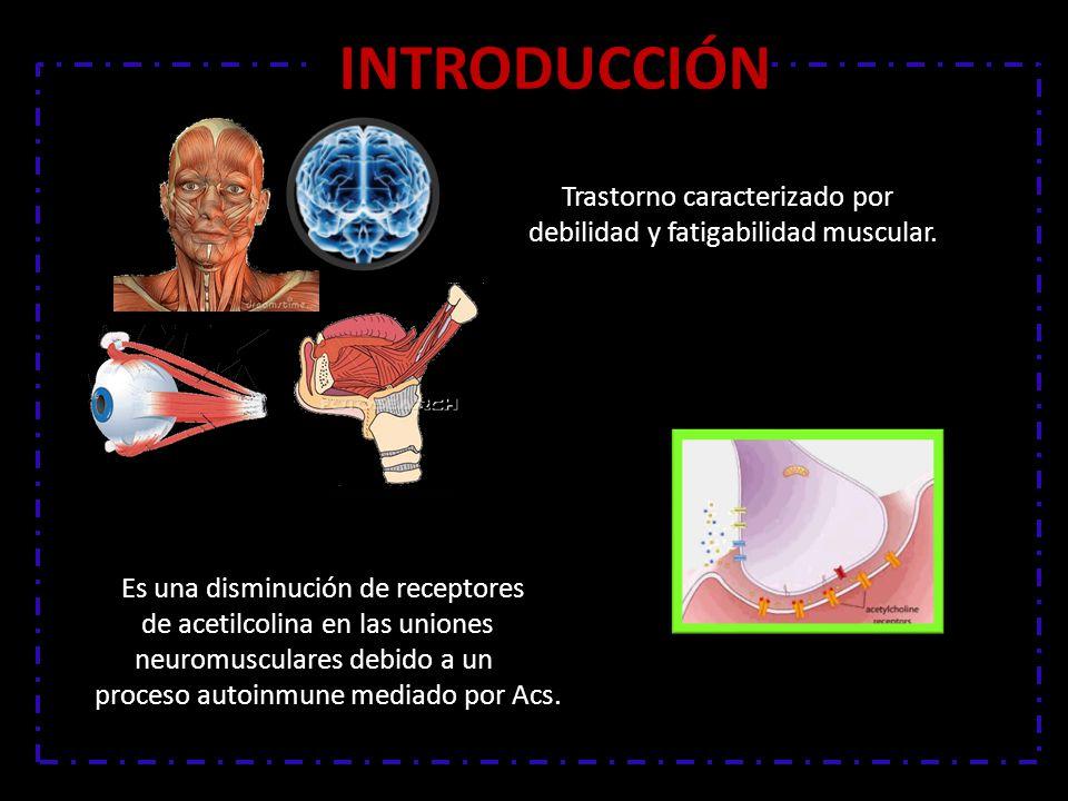 INTRODUCCIÓN Trastorno caracterizado por debilidad y fatigabilidad muscular. Es una disminución de receptores.