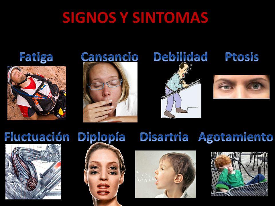 SIGNOS Y SINTOMAS Fatiga Cansancio Debilidad Ptosis Fluctuación