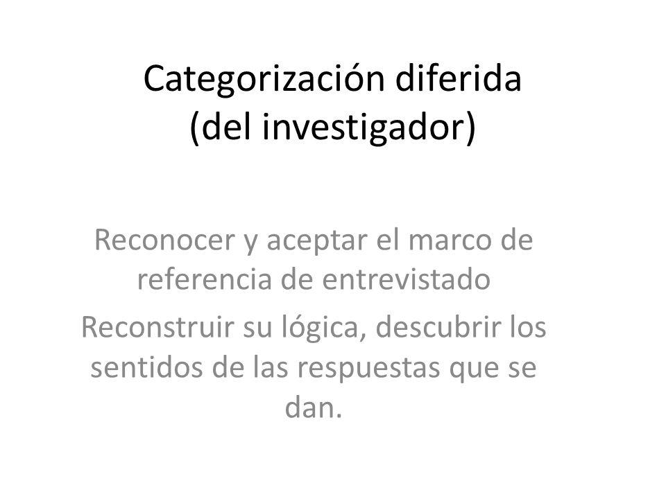 Categorización diferida (del investigador)