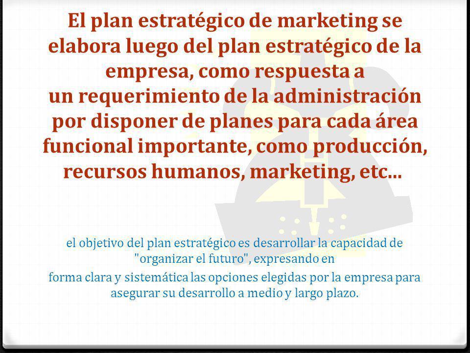 El plan estratégico de marketing se elabora luego del plan estratégico de la empresa, como respuesta a un requerimiento de la administración por disponer de planes para cada área funcional importante, como producción, recursos humanos, marketing, etc...