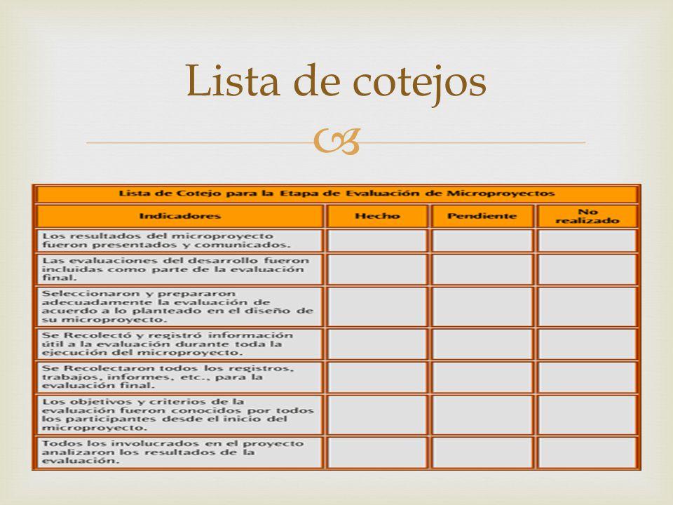 Lista de cotejos