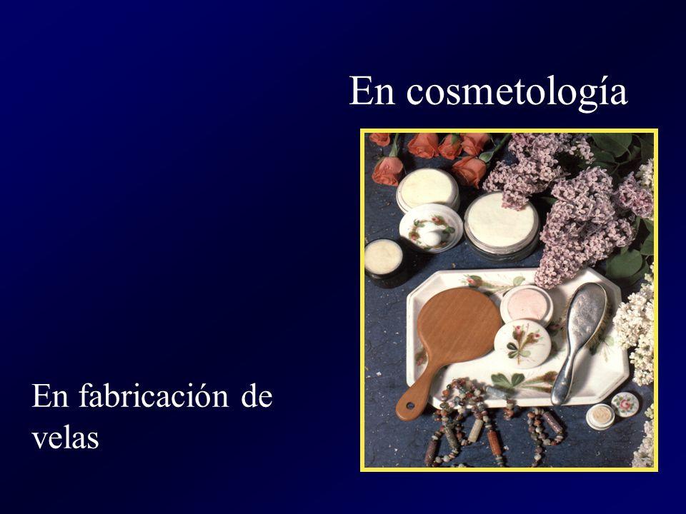 En cosmetología En fabricación de velas