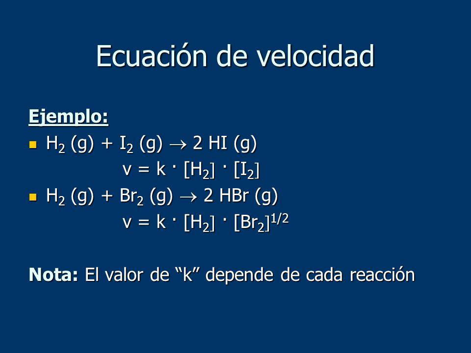 Ecuación de velocidad Ejemplo: H2 (g) + I2 (g)  2 HI (g)